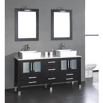 price63 inch wood porcelain double sink bathroom vanity set moniteau brushed nickel faucets ornoisukta