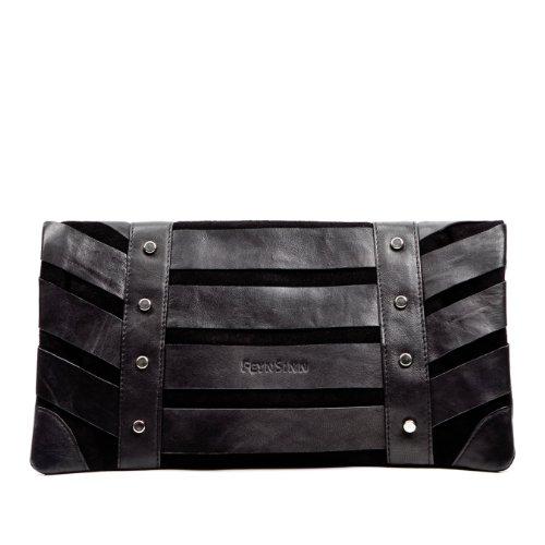 FEYNSINN Clutch SARAH Abendtasche schwarz echt Leder