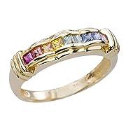 Multi Sapphire Gems 9K Gold Gay Lesbian Rainbow LGBT Couples Wedding Band Ring