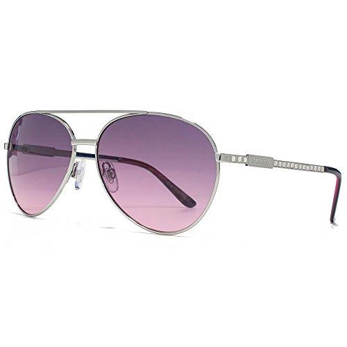 Carvela Diamante Tempel Aviator Sonnenbrillen in glänzend Silber CAR020