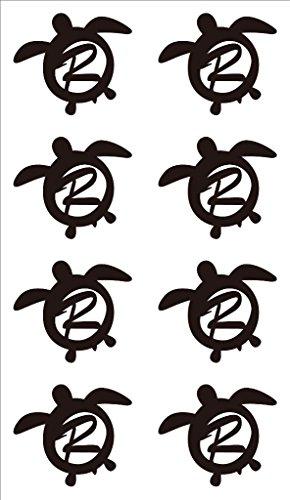 nc-smile イニシャル ハワイアン ホヌ 英字 アルファベット デコレーション シール ステッカー R ブラック