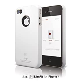 elago S4 Slim Fit Case for AT&T and Verizon iPhone 4 with Logo Protection Film (Snow White)