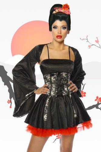 LH Dessous 12445 Gr. S-M. - 4-tlg Satin-Geisha-Kostüm für den Clubbesuch oder Motto- und Kostümparty! Bestehend aus Jacke, Corsage, Kleid und Petticoat