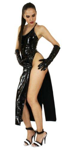 Lack-Kleid lang rückenfrei weiß Gr. XL Ledapol 1473, RESTPOSTEN
