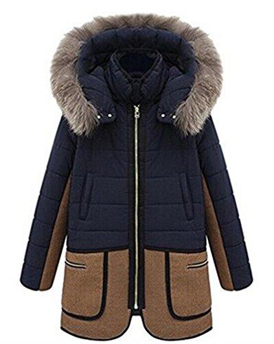 ZEARO Wintermantel Damen mit Pelz Kapuze Lady fit Patchwork Fashion Jacke Parka Oberteile warm
