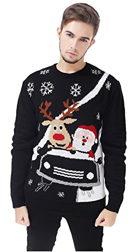 V28® Men's Christmas Reindeer Snowman Penguin Santa and Snowflake Sweater (Large, CarRace)
