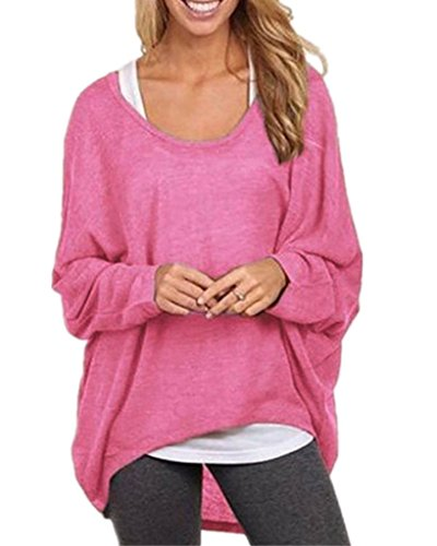 Yidarton Frauen Sexy Asymmetrisch Langarm Pullover Pulli Strickjacke Oversized Baggy Lose Jumper T-shirt Tops Bluse