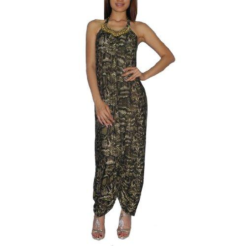 Frauen Thai Exotische Sexy Voll-Länge Elegant Spaghetti Tied Neck Langes Kleid / Partykleid - Größe: Medium