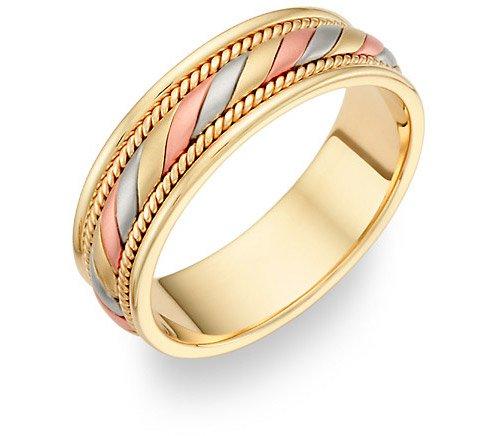 14K Tri Color Gold Design Wedding Band Ring Wedding