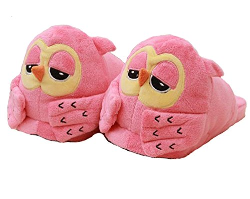 HW-GOODS Womens Owl Velvet Slippers (pink)