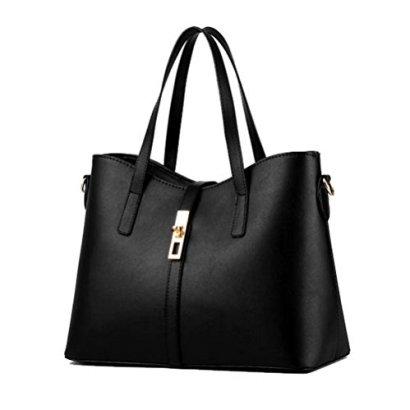 Fashion-Road-Womens-Pu-Leather-Handbag-Ladys-Line-Tote-Bags-Black