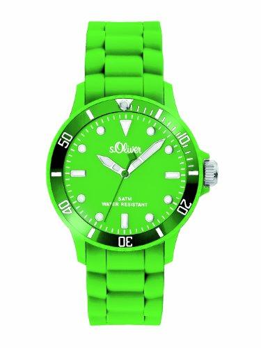 s.Oliver Unisex-Armbanduhr Medium Size Silikon grün SO-2330-PQ