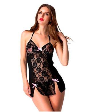 Bomshel Women Black Nightwear Lingerie Nightdress with Panty