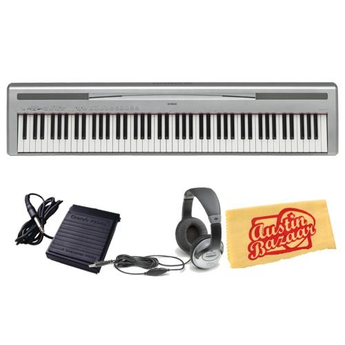 Yamaha P95 Digital Piano Bundle with Sustain Pedal, Headphones, and Polishing Cloth - Silver