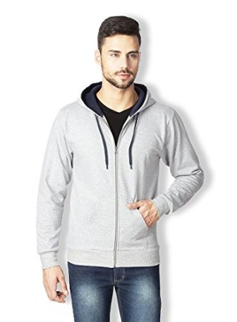 Rodid Men's Cotton Solid Full Sleeve Sweatshirt Grey Melange_M