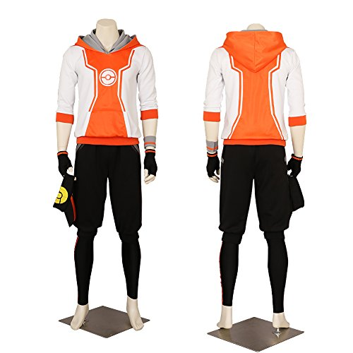 Men's Pokemon Go Trainer Hoodie Orange Team Valor Instinct Mystic Costume XLarge