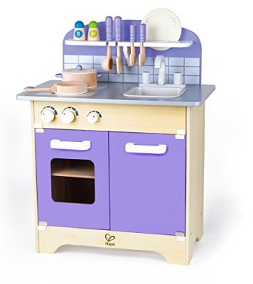 Hape-Wooden-Kitchen-Play-Set-Toy-for-Kids-with-Deluxe-Accessories-Purple-Playfully-Delicious-Gourmet-Playset