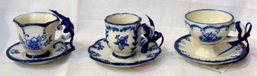 Kurt Adler Set of 3 Tea Cup & Saucer Xmas Ornaments
