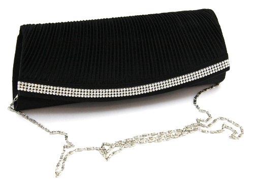 Damen Handtasche Clutch mit edlem Strass Muster in eleganten Satin Samt Schwarz