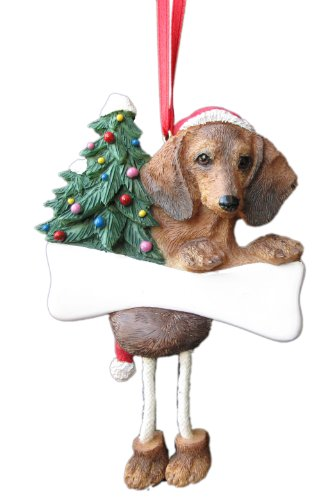 Dachshund Ornament Red with Dangling Legs