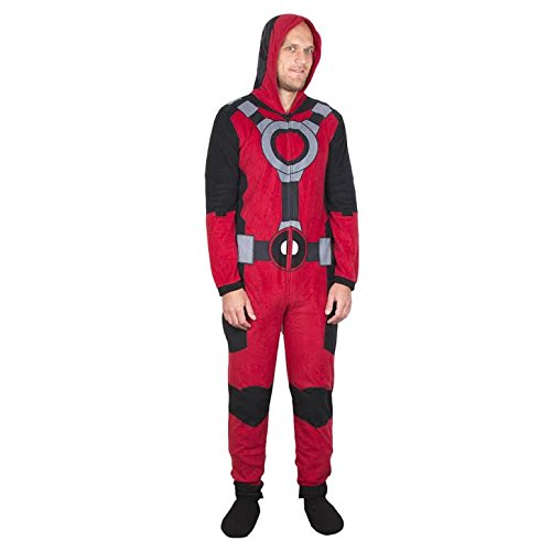 Deadpool (X-Men) Costume -- Hooded Fleece One-Piece Union Pajamas
