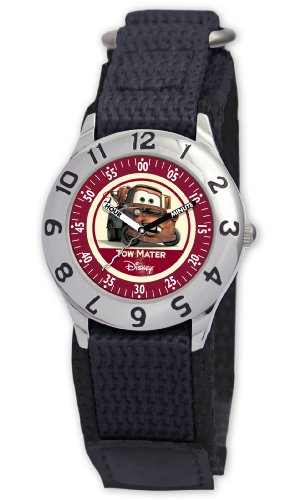 Disney Kids' D809S500 Tow Mater Time Teacher Black Velcro Strap Watch