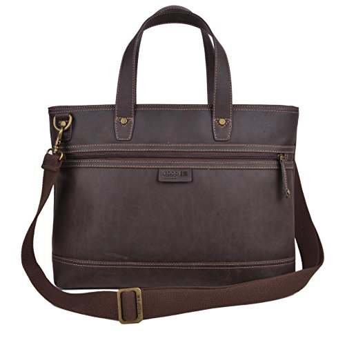 Laptop Tote Bag in Dark Brown Vegan Leather. Includes Shoulder Straps and Cross-body Adjustable Strap.