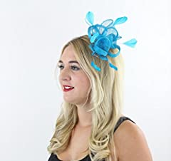 Southern Charm Sinamay Fascinator Hair Comb with Flowers and Feathers for Adults Women Teens Girls (Turquoise)