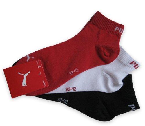 Puma Sneaker Quarter Socken 3Paar Unisex Invisible 251015 Gr. 43-46 rot,weiß,schwarz