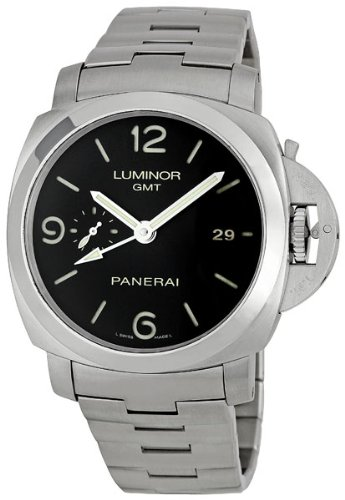 Panerai Men's M00329 Steel Luminor 1950 GMT Black Dial Watch