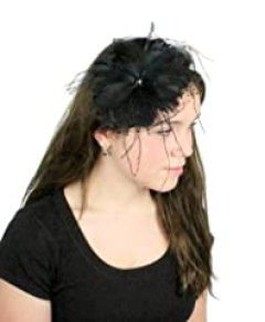 Hats By Cressida Black Feather & Tulle Kentucky Derby Fascinator Hat With Headband