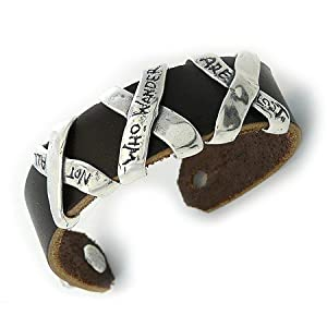Not All Who Wander Are Lost - Sterling Silver and Leather Unisex Cuff, 8.5-inch length