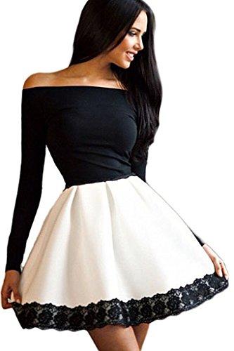 Schulterfreie Langärmelige Mit Spitze Kleid Schwarz Weiß Skater