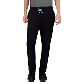The Cotton Company Men's Cotton Track Pants - Black (Trop_Tracks_Black_TealPiping_L)