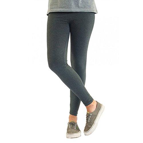 Blickdichte Damen Leggings aus Baumwolle Leggins Knöchellang in schwarz weiß grün grau rot gelb
