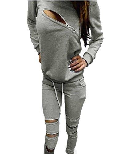 ZANZEA Damen Fitness Zipper Kapuzenpullover Hose Sportanzug Jogginganzug Hausanzug