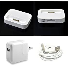 For Apple iPhone 4 / iPhone 3G 3G-S / iPod Touch 4 4th Generation / iPod Touch 3rd Generation Docking Station + Travel Wall Home Charger + USB Data Cable