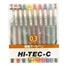 Pilot Hi-Tec-C Gel インク ペン, 0.3 mm, Basic Colors - 10 ペン Gift セット[e01]【並行輸入品】