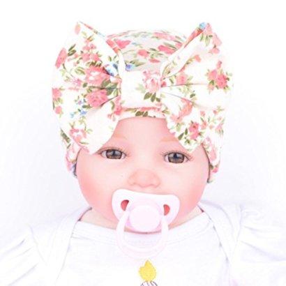 SunwardTM-Newborn-Baby-Flower-Bowknot-Hospital-Hat-1515cm-Beige