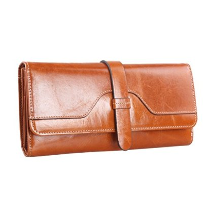 Covelin-Womens-Durable-Purse-Large-Capacity-Luxury-Oiled-Genuine-Leather-Long-Wallet-Soft-Hot-Camel