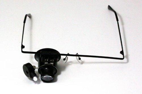 Hochwertige Lupenbrille mit 20 x Vergrößerung und verstellbarem LED Licht ideal für Juweliere Uhrmacher etc.