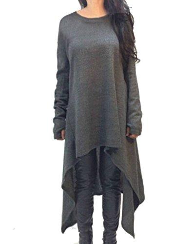ZANZEA Damen Unregelmäßige Strick Oversize Langarm Pullikleid Longshirt Top Minikleid