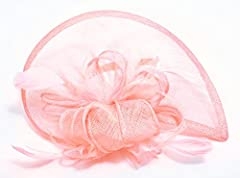 AM CLOTHES Womens Formal Party Cocktail Flower Feather Headband Fascinator (Pink)