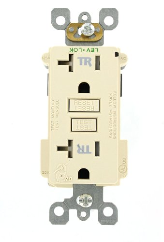 Leviton MT789-T 20 Amp, 125 Volt, Lev-Lok, Smartlock Pro, Tamper Resistant, GFCI Receptacle, Commercial Grade, Light Almond