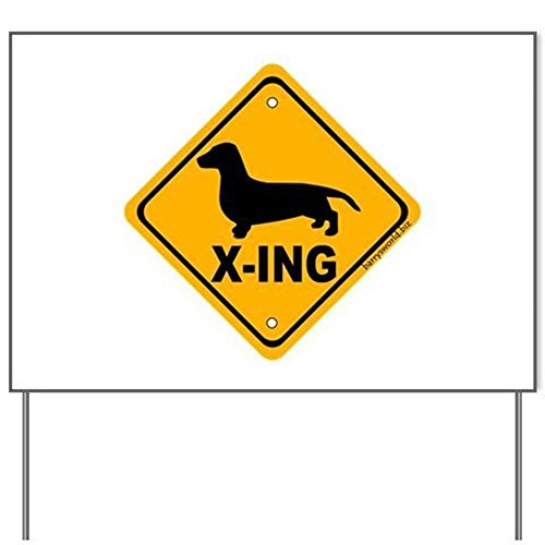 Dachshund X-ing 18 by 24 inch Yard Sign with Metal Stake