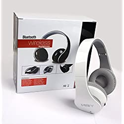 New Hi-Fi Stereo Bluetooth Headphone Headset with NFC function, work for Samsung Android smart cell phone; Apple Phone and almost all Tablet PC---Best Audio Performance - Stereo - NFC function - Clear Mic-phone - Over the head--With Retail Package (White)