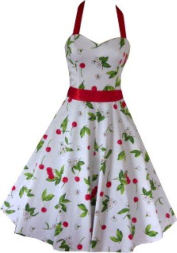 Pretty Kitty Fashion 50s Kirsche Weiß Rot Neckholder Kleid