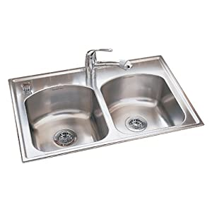 new american standard 7502 103 075 culinaire 33 inch self rimming single hole double bowl kitchen sink stainless steel ngaymunghai