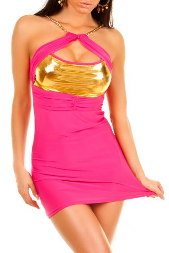 Sexy Damen Kleid GoGo Dress Minikleid Partykleid mit Kette Gold Metallic Stoff in 5 Farben Onesize XS-X-M