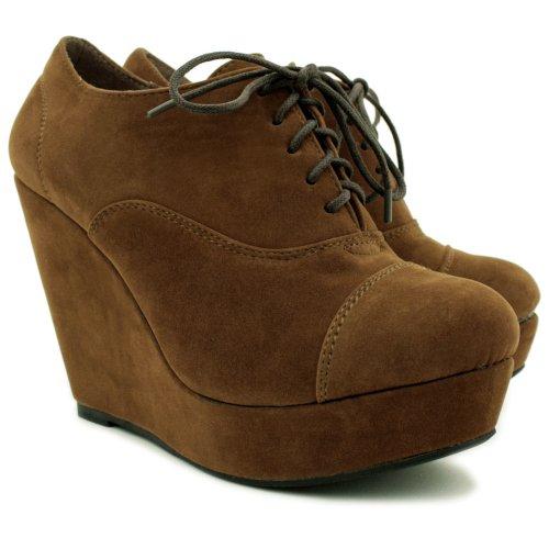 Keil Platform Suede Stil Stiefel, Damen, Braun, Größe 39